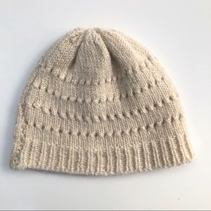 Kids S M Handmade Knit Hat Beanie Cream